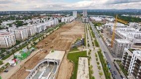 Large construction site, Europaviertel Frankfurt stock video footage