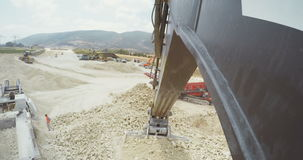 Large construction site with trucks and heavy tools stock video