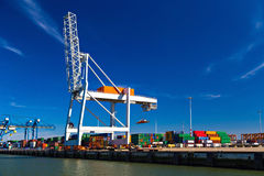 Large container cranes in Port of Rotterdam stock photography
