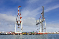 Large container cranes at Swanson Dock in the Port of Melbourne, Australia Royalty Free Stock Photos