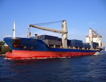Large Container Ship. Leaving Kaohsiung harbor Stock Image