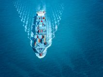 Large container ship is coming to the port Royalty Free Stock Photography