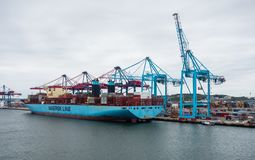 Large container ship docked near cranes. Stock Photo