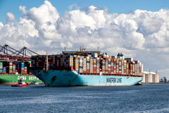 Large container ship entering Port Royalty Free Stock Photography