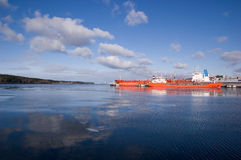 Large Container Ship In A Dock At Klaipeda Harbour Stock Image