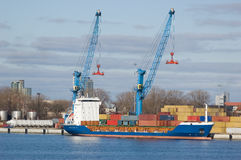 Large Container Ship In A Dock At Klaipeda Harbour Royalty Free Stock Image