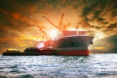 Large container ship loading industries product for logistic bus royalty free stock photo