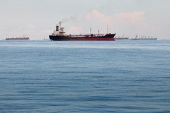 Large container ship. In the open sea Stock Photography