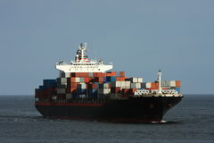 Large container ship at sea. Stock Photos