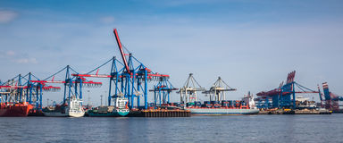 Large container ships and a container terminals Stock Photography