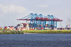 Large Container Terminal in Hamburg, Germany Royalty Free Stock Image