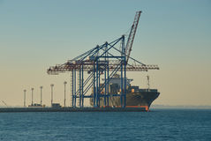 Large container vessel in Port of Odessa Stock Images