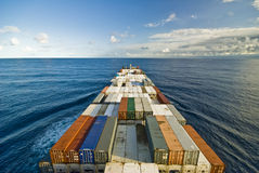 Large container vessel ship and the horizon. Royalty Free Stock Images