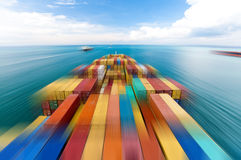 Large container vessel ship and the horizon, motion blur stock photos
