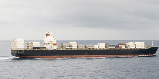 Large container vessel ship and the horizon royalty free stock photos
