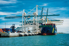 Large container vessel unloaded in Port of Miami Stock Photography