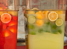 Large Containers of Lemonade, Limeade and Punch Royalty Free Stock Photo