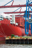 Large containership at port, ready for unloading. Royalty Free Stock Photo
