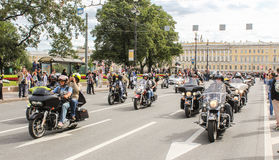 A large convoy of bikers. Royalty Free Stock Photos
