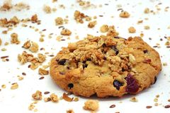 Large cookie, cereals and cranberries. Large size photo of a cereal cookie, made according to an old recipe. You may see closely quite big cereal cookie with Royalty Free Stock Photos