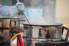 Large cooking pot for large quantities Stock Images