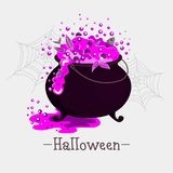 Large cooking pot with magic purple potion stock illustration
