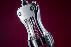 Large corkscrew on a monochromatic background stock images
