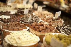 Large counter with chocolate candies Royalty Free Stock Images