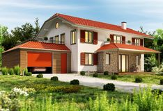 Large country house with garage. Large country house with big garage stock image