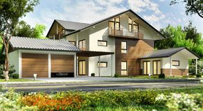 Large country house with a large garage. Large modern house with a large garage stock photos