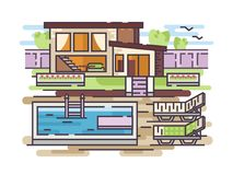 Country house with swimming pool. Large country house with swimming pool and relaxation area. Vector illustration Royalty Free Stock Photo