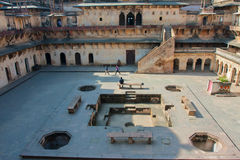 Large courtyard of the historical fort with tourists Royalty Free Stock Photo