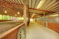 Large covered horse arena with stables. Private property in WA state, covered arena and stables Royalty Free Stock Images