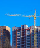 Large crane on the background of the house. A large crane on the background of the house Stock Image