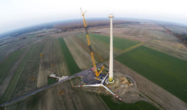 Large crane on a wind turbine construction site Royalty Free Stock Photo