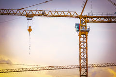 Large cranes with construction site Stock Image