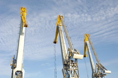 Large cranes in port Royalty Free Stock Photo