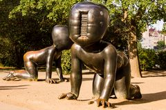 The Crawling Babies at Kampa Park- closer look. These 3 large crawling bronze babies in front of the Museum of Modern Art in Kampa Park, Prague, Czech Republic stock images