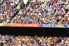 Large crowd. Sit in grandstand for Australian rules football at telstra dome Royalty Free Stock Photo