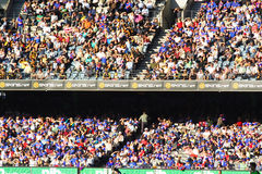 Large crowd. Sit in grandstand for Australian rules football at the telstra dome Melbourne Royalty Free Stock Photography