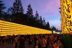 Large Crowd At Mitama Matsuri, Yakasuni Shrine In Tokyo, Japan Stock Image