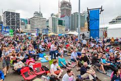 A large crowd on Captain Cook Wharf, Auckland, for Auckland Anniversary Weekend stock image