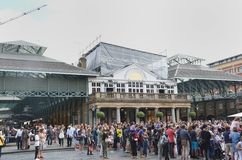 Large crowd in centre of Covent Garden Central London Royalty Free Stock Photo