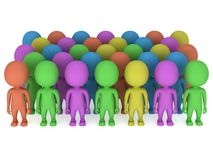 A large crowd of different people stand on white Royalty Free Stock Photography
