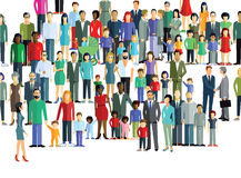 Large crowd of diverse people. Illustration of a large group of diverse people and families stood on a white background Stock Photo