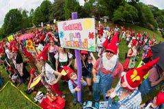 Large Crowd Dressed Like Gnomes Gathers At Atlanta Park Royalty Free Stock Images