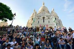 Large crowd outside sacre coeur Paris Stock Photos