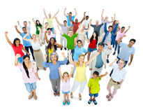 Large Crowd of People Cheering.  Royalty Free Stock Photo