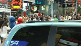 Large crowd of people dancing in the streets of New York stock video