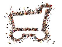 Large crowd of people forming the symbol of a shopping cart .Versatile Concept with room for text or copy space advertisement Stock Image
